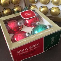 Boxed Set 4 Large Shiny Brite Red Green Glass Bulb Ornaments Vintage 1965 by TinselandFlamingo on Etsy