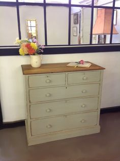 Now sold Shabby Chic drawers painted in Craig & rose Opulence Shagreen A contemporary grey green colour. £265