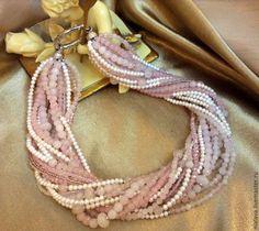 Купить Кварцевое ожерелье из розового кварца и жемчуга - жемчуг натуральный, жемчуг, украшения из жемчуга