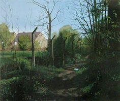 """An exhibition at the Walker Art Gallery in Liverpool, titled """"Reality: Modern and Contemporary British Painting,"""" examines realism in the works of British artists. Pictured here is Scenes from the Passion—The Path on the Edge, by George Shaw. Green Landscape, Landscape Art, Landscape Paintings, Landscapes, British Paints, English Artists, British Artists, Walker Art, Royal College Of Art"""