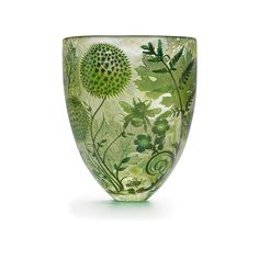The Spring Four Seasons vase in mouth-blown lead-free glass has been hand carved these using diamond point drills and contemporary carving techniques to create a tactile cameo in fine detail and relief. by Asprey