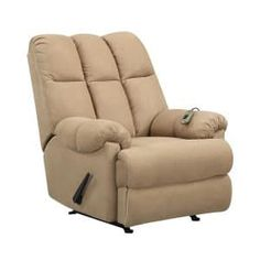 Dorel Living Padded Dual Massage Recliner, Tan - Enjoy this Padded Massage Rocker Recliner with dual massaging and full comfort. This large-size reclining rocking chair is perfect for any home. The over-filled design of this massage rocker recliner .