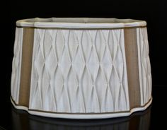 https://flic.kr/p/sr4SA9 | This beautiful linen lampshade features hand-smocked linen panels separated with bronze silk inserts available @ www.lampshadesetc.com