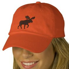 Moose Silhouette (Color Customizable) Embroidered Baseball Caps - Use this link for coupon codes: https://www.zazzle.com/coupons?rf=238077998797672559