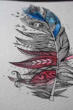 Garten-Feder-Original Artwork 5 x 7 Ink und Aquarelle von MyZenMode