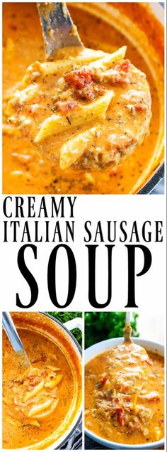 Creamy Italian Sausage Soup Creamy Italian Sausage Soup Cheesy Pasta Filled Soup Made With Italian Sausage Is The Perfect Pairing For An Easy Weeknight Dinner Or Holiday Party Crock Pot Recipes, Healthy Soup Recipes, Slow Cooker Recipes, Cooking Recipes, Easy Recipes, Chicken Recipes, Dinner Recipes, Vegetarian Recipes, Chicken Soups