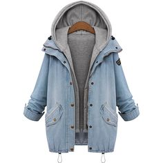Hooded Waistcoat And Denim Flap Pocket Coat (47 CAD) ❤ liked on Polyvore featuring outerwear, coats, hooded denim coat, blue coat, long coat, long blue coat and denim coats