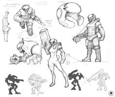 I like the mechanical, futuristic look of the characters. I also really like the shading techniques used. All the postures for the characters are tall and confident.