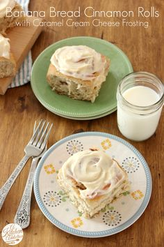 Banana Bread Cinnamon Rolls with Caramel Cream Cheese Frosting by @Jessica l A Kitchen Addiction