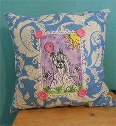Original Maltese Acrylic Painting by me on Faux Leather trimmed with lace and 4 Large Pink Buttons. and attached to a blue swirl pillow. Pillow measures 16 by 16. Would be cute in a nursery or Childs room or any Maltese or Morkie lovers room! I sign my artwork with the name Blondie  .Makes a great gift for the Maltese or Morkie lover!