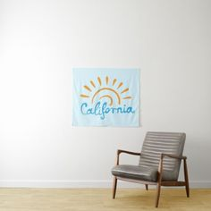 Sunny California Logo Tapestry - typography gifts unique custom diy