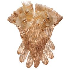 Wedding Accessories Inspired by Flowers - Cotton hand-crocheted gloves with flowers, $85, by Shaneen Huxham.