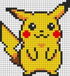 Pika Pika Pikachu se montre en perles à repasser hama pokemon perler beads Pearler Bead Patterns, Kandi Patterns, Perler Patterns, Beading Patterns, Flower Patterns, Embroidery Patterns, Loom Beading, Bracelet Patterns, Scarf Patterns