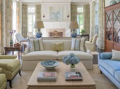Living Room In Soft Blues Greens Greenwich House Phoebe Howard Houseformal Roomsgreen