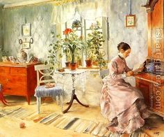 Carl Larsson:An Interior with a Woman Reading