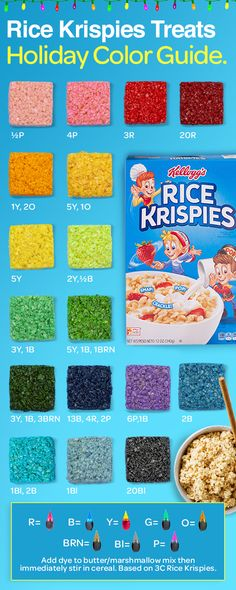 Rice Krispies were made to make a festive rainbow of holiday creations - from green Christmas trees to blue Hanukkah stars to red-wrapped presents. Just start with the original treats recipe and add some imagination. Christmas Desserts, Holiday Treats, Holiday Recipes, Christmas Candy, Holiday Baking, Christmas Baking, Cake Candy, Reis Krispies, Cupcakes