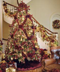 Ribbon On Christmas Tree, Christmas Tree Themes, Christmas Holidays, Christmas Wreaths, Holiday Decor, Victorian Christmas Tree, Happy Holidays, Victorian Christmas Decorations, Nutcracker Christmas Decorations