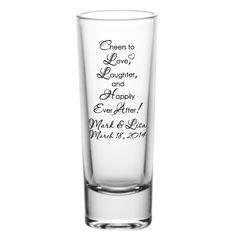 48 Personalized Wedding Favor 2oz Tall Glass Shot by Factory21, $127.48
