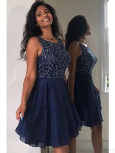 Navy Blue Chiffon Homecoming Dresses with Beadings(ED2526) Elegant Dresses Classy, Beautiful Prom Dresses, Classy Dress, Simple Dresses, Dresses Short, Hoco Dresses, Formal Dresses, Party Dresses, Semi Dresses
