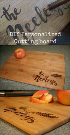 Personalized cutting board on pinterest engraved cutting for Diy personalized wood cutting board