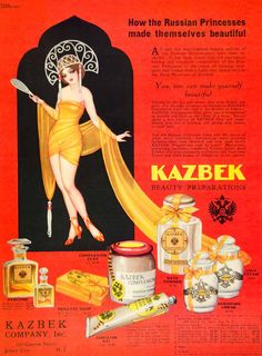 1923 ad for Kazbek Beauty Preparations