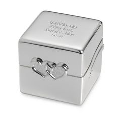 Here's a perfect little gift for a new bride - or place a milestone anniversary ring inside for a memorable presentation. The box adorned with crystals, is part of our Double Heart Collection, so it matches everything from toasting goblets to photo albums and trinket boxes. She'll love it even more when you have it engraved with her name or initials.