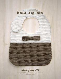 Ravelry: Bow Tie Bib pattern by Kittying Ying Crochet Bow Ties, Crochet Baby Bibs, Crochet Baby Clothes, Crochet For Boys, Love Crochet, Hand Crochet, Crochet Toys, Unique Crochet, Newborn Crochet