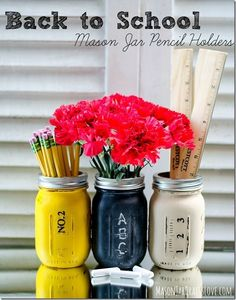 You can also DIY a dollar store mason jar into these pretty awesome pencil holders.