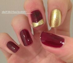 Red And Gold Nails Design