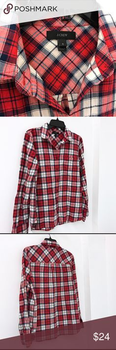 """J.Crew plaid Button Down shirt Sz 6 J.Crew top. Sz 6. Great condition. I would say it's a lighter flannel. Chest flat across 20"""" length 26.5"""" J. Crew Tops Button Down Shirts"""