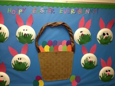 Hoppy Easter Everybunny!!  Easter bulletin board. Used large paper plates and child's handprints for the grass.  Let the kids draw the eyes on the bunnies and glue the ears on.