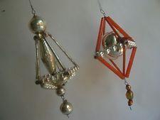 2 antique bohemian glass beaded  CHRISTMAS ORNAMENTs *5