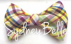 Multi-colored plaid bow tie