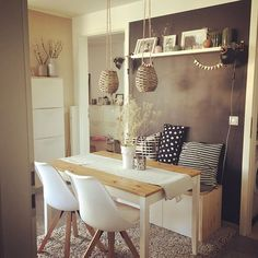 31 Stunning Small Dining Room Ideas You Will Love - Just because all you have is a small kitchen, that does not excuse your from bringing room's advantage. The call of small dining room tables had happe. Dining Table Lighting, Furniture Dining Table, Dining Room Table, Wooden Furniture, Farmhouse Furniture, Farmhouse Table, Small Dining Rooms, Dining Table Small Space, Ikea Small Spaces