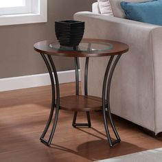 Carlisle Walnut/ Charcoal Grey Round End Table | Overstock.com Shopping - The Best Deals on Coffee, Sofa & End Tables