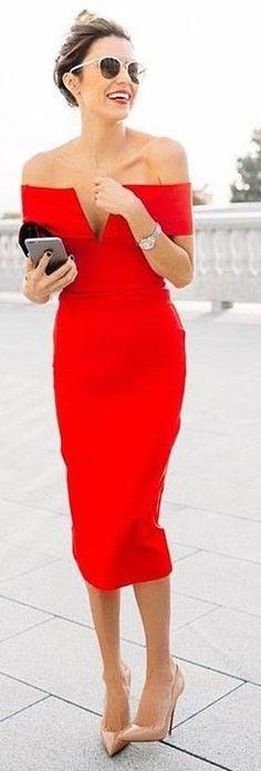 Off The Shoulder Midi Red Dress                                                                             Source