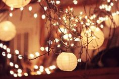 Wedding Lights: Branches wrapped with string lights and paper lanterns