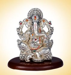 Each crystal is Hand set By skilled Craftsman. Product code : Product Type: Ganesha Idol Product Size: 10 cm Material : Made from Base Resin with Sterling Silver Coating. This idol is detailed with Swarovski Crystal Sri Ganesh, Lord Ganesha, Best Jewellery Design, Silver Pooja Items, Ganpati Bappa, Great King, Stage Decorations, Indian Gods, Gods And Goddesses