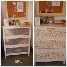 Ikea aneboda update. I used a grey and white chevron contact paper when I did mine. Didn't do anything to the drawer pulls/handles, though