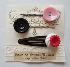 Vintage Button Hair Clips Handmade Repurposed by CharmainesWhimzy