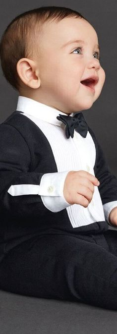 SALE !!! Love this DOLCE & GABBANA Boys Tuxedo Babysuit! Adorable luxury party look for baby boys is makes the perfect gift. Inspired by Dolce Gabbana Men's Runway Collection, this mini me baby boy tuxedo is super stylish and comfortable to wear. Perfect