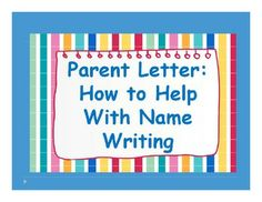 Free and Simple Parent Letter: Support with Name Writing