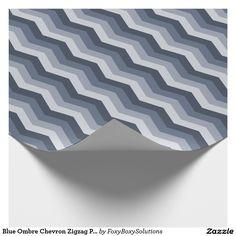 Blue Ombre Chevron Zigzag Pattern Gift Wrap