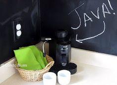 Chalkboard paint kitchen backsplash by Condo Blues