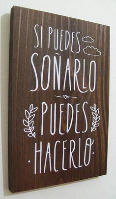 cuadros con frases en madera, modernos, decoración 20x30 cm.