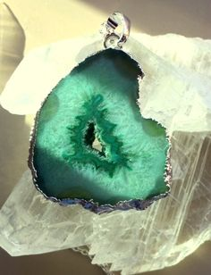 Green Crystal Agate Geode Slice Pendant/Necklace by MagicalUniverse on Etsy