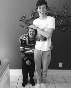 Shawn and his grandma. she's so tiny and cute