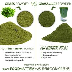 Not all grass powders are created equal! Find out the difference between grass powder (most common) and grass juice powder (most powerful) here: