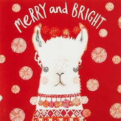 Buy John Lewis Merry And Bright Llama Charity Christmas Cards, Pack of 6 from our Christmas Cards range at John Lewis & Partners. Llama Christmas, Merry Little Christmas, Christmas Animals, Christmas Wishes, Christmas Design, Christmas Art, Christmas Themes, Vintage Christmas, Xmas
