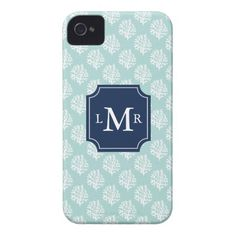 Cute Mint Summer Pattern and Blue Monogram Case for iPhone 4